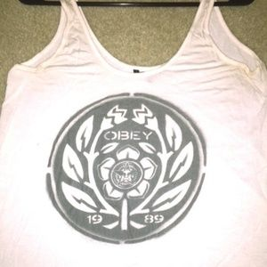 Obey White Graphic Tank Top